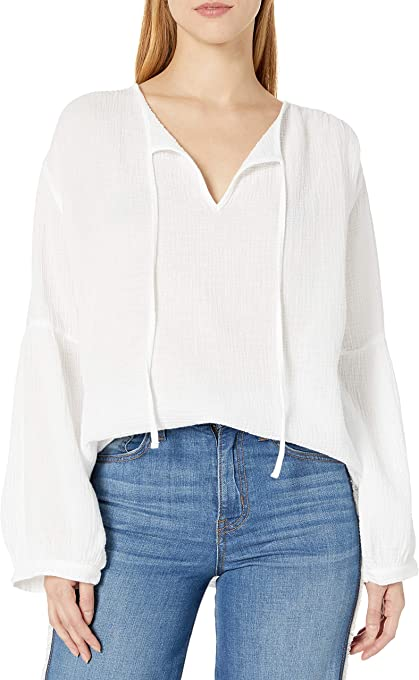 Three Dots Women's Double Gauze Peasant Top