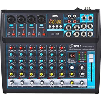 Professional Audio Mixer Sound Board Console Desk System Interface 8 Channel Digital USB Bluetooth MP3 Computer Input 48V Phantom Power Stereo DJ Studio FX 16Bit DSP Processor Pyle PMXU83BT,Black