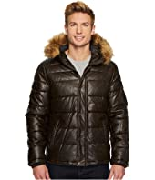 Tommy Hilfiger - Faux Leather Hooded Quilted Puffer Jacket