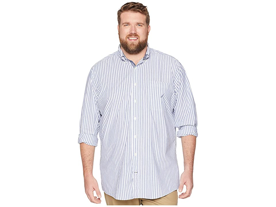 Nautica Big & Tall Big Tall Classic Casual Stripe Shirt (Ocean Lapis) Men's Long Sleeve Pullover, Blue