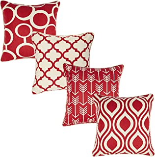 Redearth Printed Throw Pillow Cushion Covers-Woven Decorative Farmhouse Square Cases Set for Couch, Sofa, Bed, Farmhouse, Chair, Dining, Patio, Outdoor, car; 100% Cotton (18x18; Wine Red) Pack of 4
