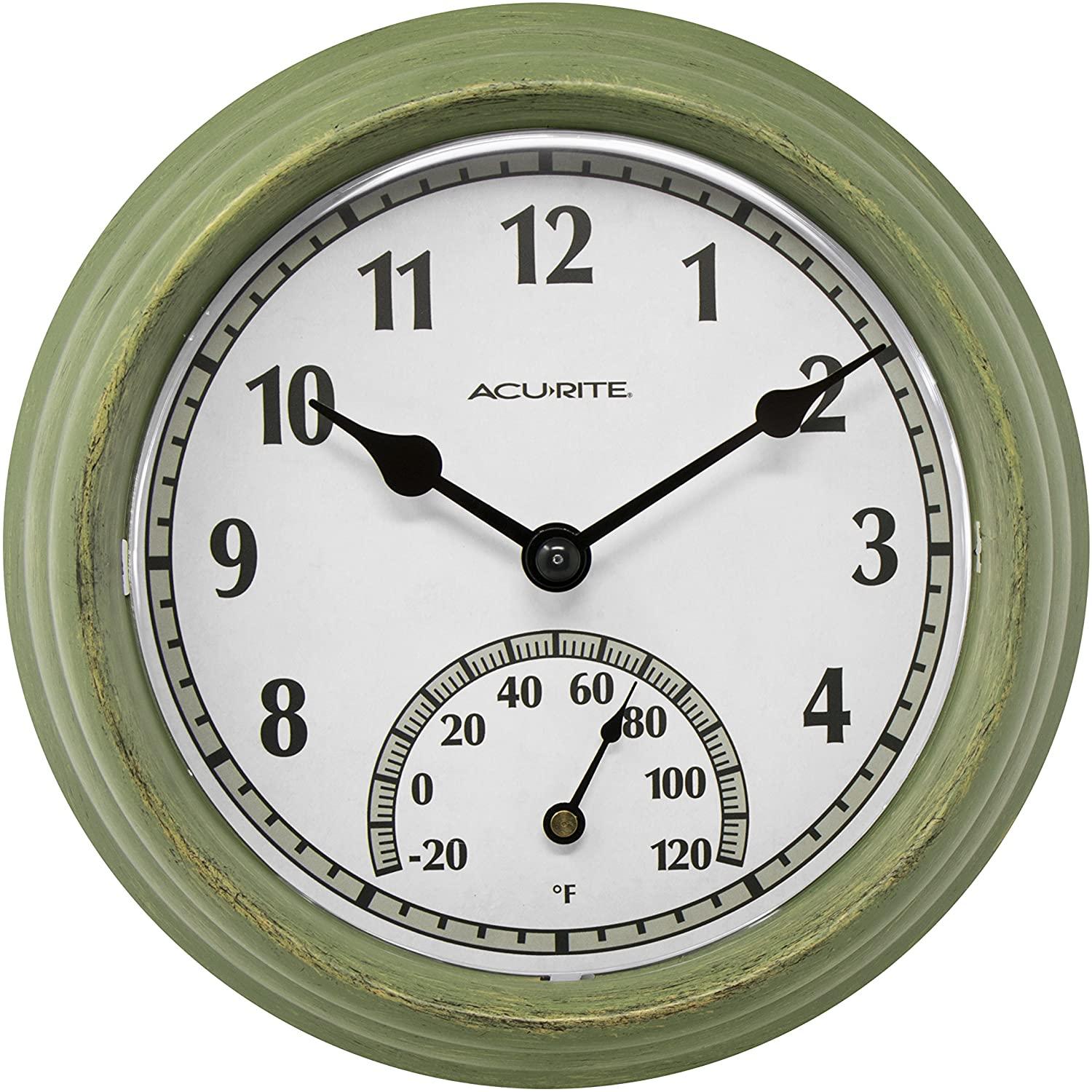 AcuRite 02470 Rustic Green At the price of surprise Outdoor 2021 model Thermometer Clock 8.5