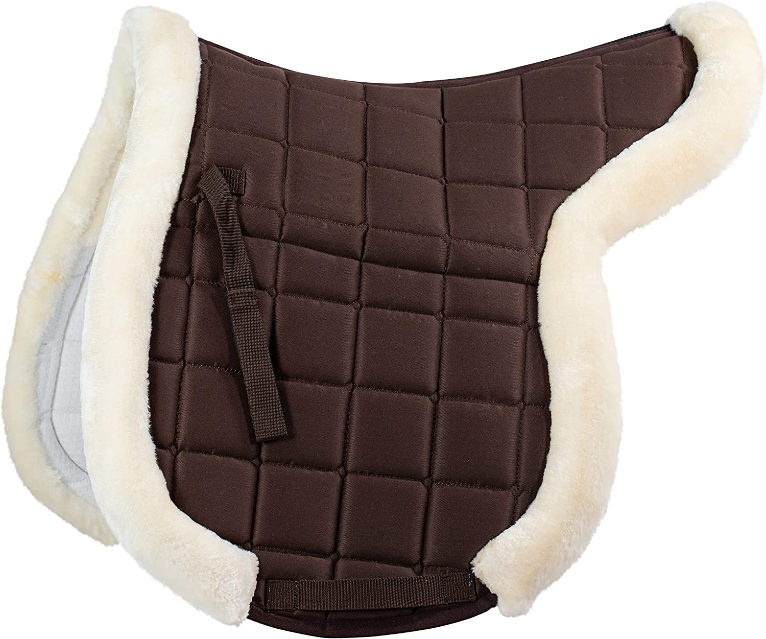 Horze Ventilated Shaped Pad with Faux Fur Trim  Dark Brown  Full