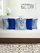 Divine Casa Micro Polyester Floral Print Set of 5 Cushion Covers, Blue Lolite and Blue Topaz - (40cm x 40cm)