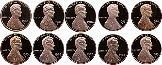 1980-1989 S Lincoln Memorial Cent Gem Deep Cameo Proof Run 10 Coin Set US Mint Penny Lot Complete 1980's Set
