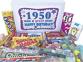 Woodstock Candy ~ 1950 69th Birthday Gift Box Nostalgic Retro Candy Assortment from Childhood for 69 Year Old Man or Woman Born 1950 Jr