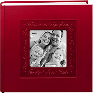 Pioneer Embossed Script Frame Leatherette Cover Photo Album, Red