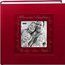 ألبوم صور بغطاء جلدي مزين بإطار من بايونير منقوش، احمر