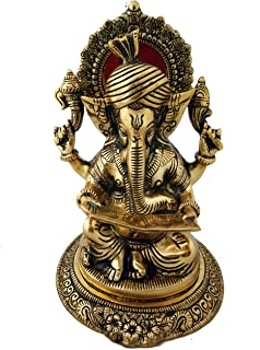 Pinnacle Handmade Pure Metal Indian Lord Ganesha Statue for Home Office Puja or Temple