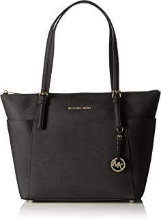 355345d0163a08 Michael Kors Women Jet Set Large Top-zip Saffiano Leather Tote Shoulder Bag