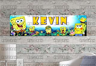 Customized Name Painting Spongebob Squarepants Poster With Your Name On It Personalized Banner