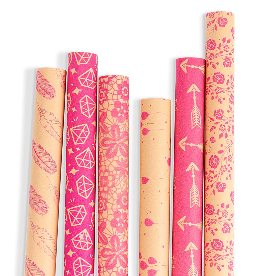 RUSPEPA Kraft Gift Wrapping Paper - Brown Kraft Paper with Hot Pink Pattern Collection-6 Roll-30Inch X 10Feet Per Roll