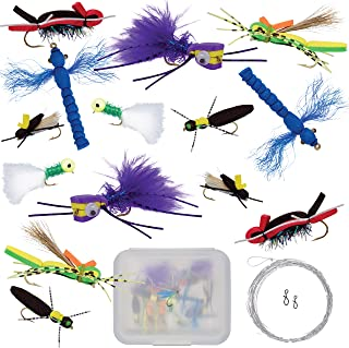 Thor Outdoor Topwater Fly Fishing Kit for Bass & Panfish | 14 pc Assortment + Free Tapered Leaders | Hook Size 8 to 10 | Foam Poppers, Hoppers, Dry Flies, Spiders, Ants, Attractors