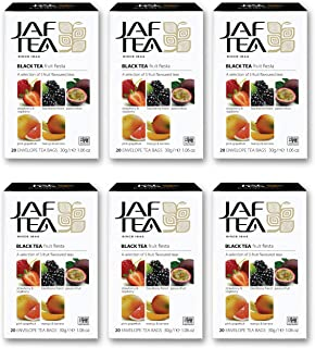 Jaf Tea - Pure Fruits Collection - Fruit Fiesta - Black Tea - 6 Pack, 120 Tea Bags Total