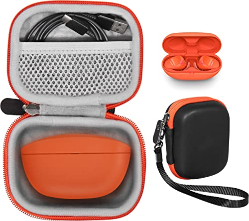 popular Protective Case for wholesale Sony WF-SP800N Truly Wireless Sports, Sony WF-1000XM3 Industry Leading Noise Canceling Truly Wireless Earbuds, Bose SoundSport Free Charger Box outlet online sale (Frosted Black with Orange Zipper) online