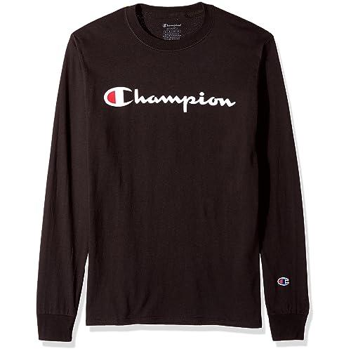 d66295d6a7fd Champion Men's Classic Jersey Long Sleeve Script T-Shirt