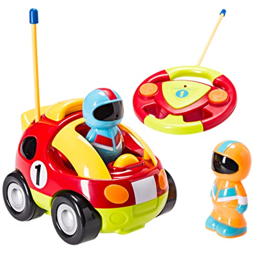 Prextex Cartoon R/C Race Car Radio Control Toys for Kids with 2 Removable Race Car Driver Figures