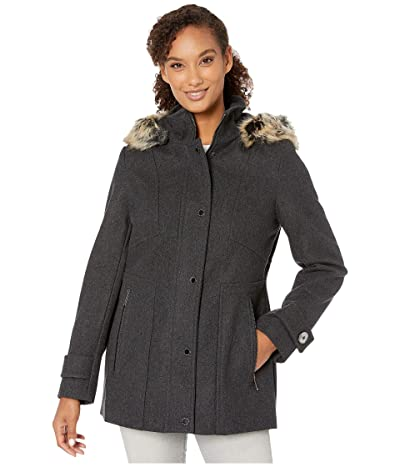 London Fog Layla Wool Blend Parka with Removable Hood (Charcoal) Women