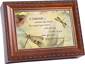 Cottage Garden A Friend's Song Woodgrain Rope Trim Music Box Plays Friends are for
