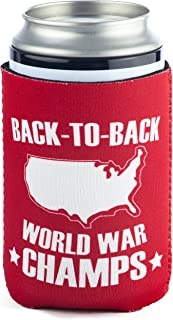 back to back world war champs koozie