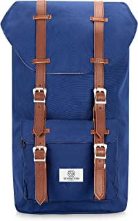 """SEVENTEEN LONDON – Modern Unisex Outdoor Waterproof Hiking Blue Backpack with Classic Brown Belt Detailing – Fits Laptop up to 15.6"""""""