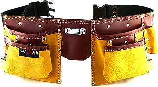 Cinturón portaherramientas de cuero de calidad con 11 bolsillos, cinturón ajustable de nailon, regalo para el día del padre para aficionados al carpintero, carpintero