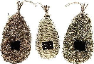Clever Garden Hanging Hummingbird House Mixed Set of 3 Grass Hand Woven Nest Birdhouse Perfect for Outdoor Home and Garden...