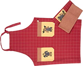 maspar Fall-Harvest Kitchen Towels and Apron 3 Pack Set, 100% Cotton, 2 Towels 18 x 26 Inch, 1 Apron 28x35 Inch, Laquer Red/Honey Dust, Absorbent, Machine Washable Everyday Kitchen