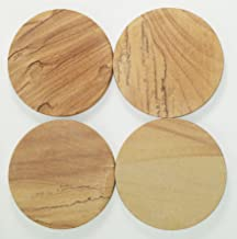Aunt Chris' Products - [Lot/Set of 4] - Highly Absorbent Sandstone Coasters - 4 Inch Round - Tan Color - Each Caster is Individually Designed
