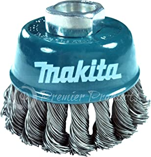 Makita 1 Piece - 3 Inch Knotted Wire Cup Brush For Grinders - Heavy-Duty Conditioning For Metal - 3