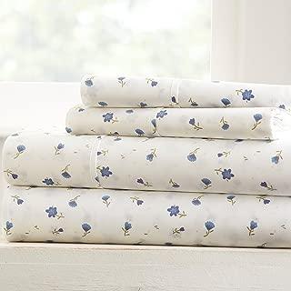 Becky Cameron Soft Floral Patterned 4 Piece Sheet Set - Queen - Light Blue