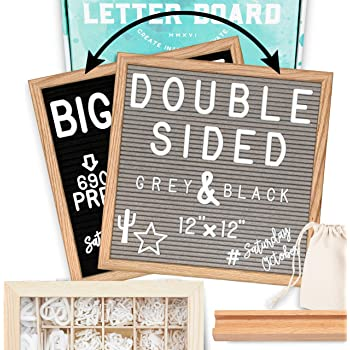 "Letter Board 12""x12"" Double Sided (Black & Gray) +690 Pre-Cut Letters +Cursive Words +Stand +UPGRADED WOODEN Sorting Tray 
