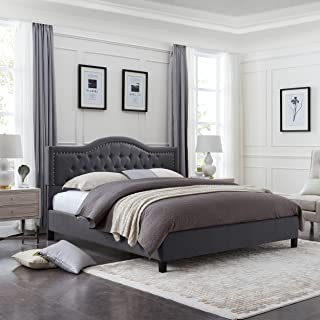 Christopher Knight Home 305762 Jacko Fully-Upholstered Traditional Queen-Sized Bed Frame, Dark Gray, Brown