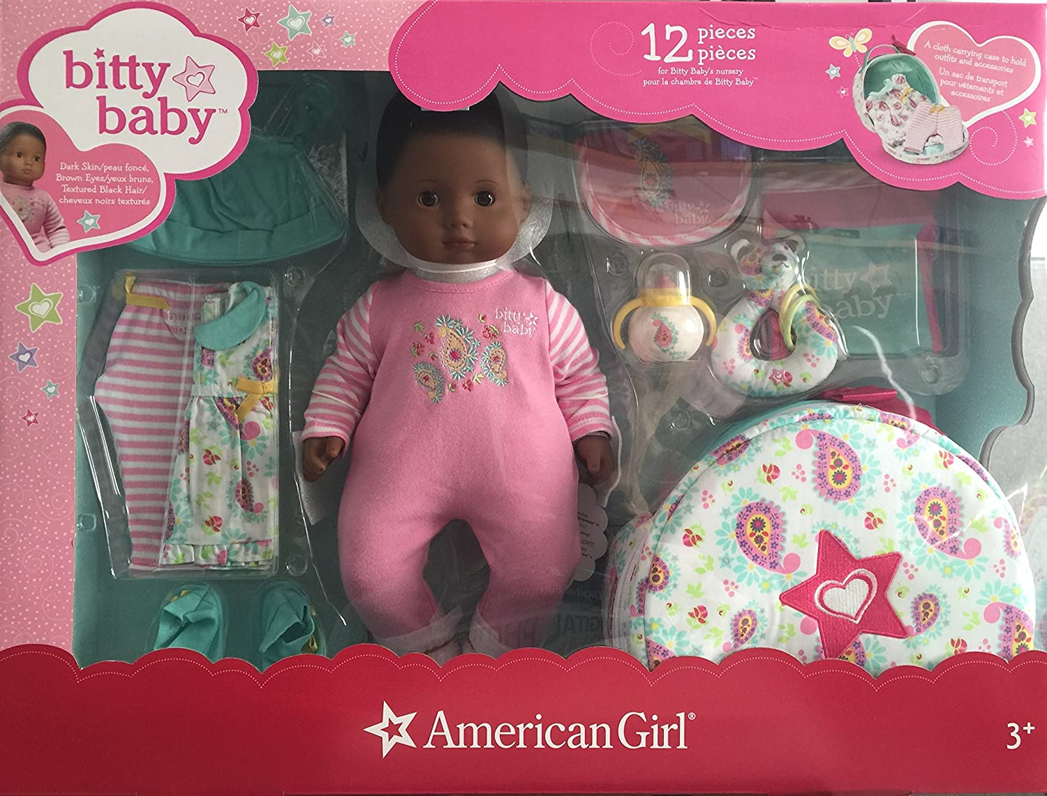 American Girl Bitty Baby Doll + Special Starter CollectionDark skin, black hair, brown eyes