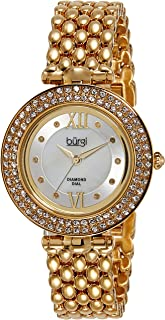 Burgi Women's BUR126 Diamond & Crystal Accented Mother-of-Pearl Swiss Quartz Bracelet Watch