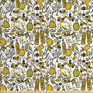 Lunarable Vintage Fabric by The Yard, Olives Oil Bottles Organic Food and Plant Branches Hand Drawn Doodle, Decorative Fab...