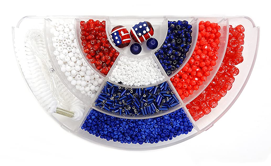 Linpeng 2 to 16mm red Blue White Painted American Flag Glass Beads Bugles Seed Beads Plastic Beads Gel Cord Spiral Hair Band in Divider Bead Box for Stretch Bracelet Jewelry Making or Hair Decor DIY