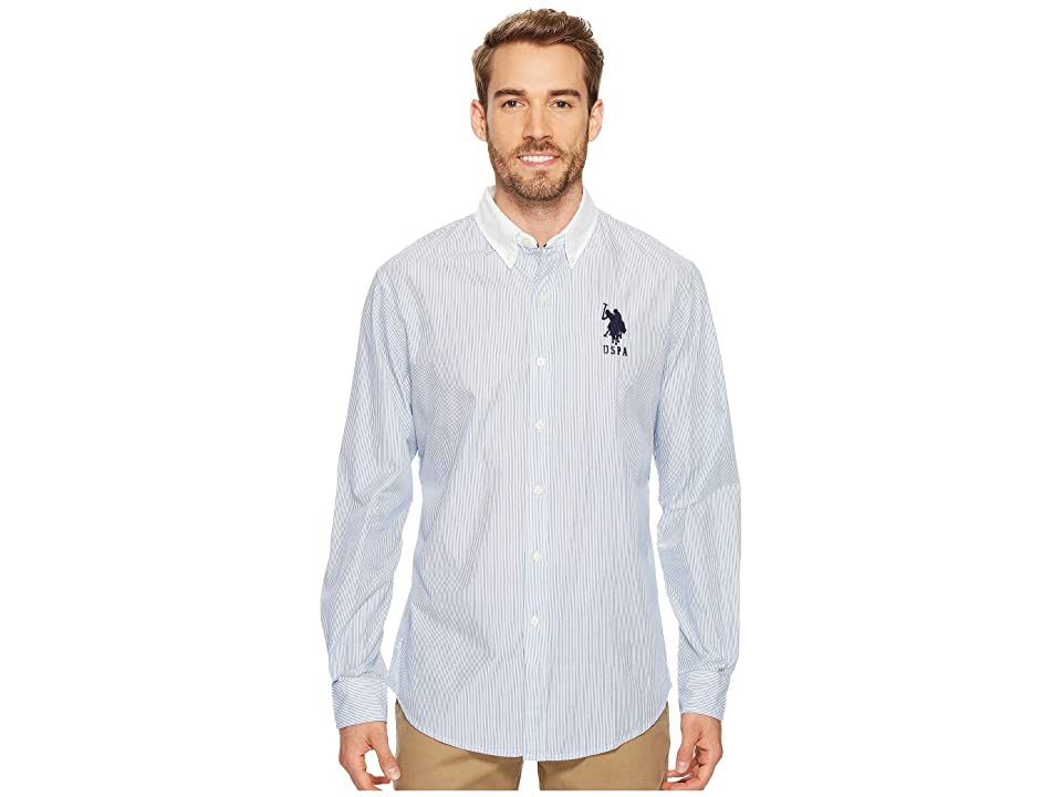 U.S. POLO ASSN. Classic Fit Stripe, Plaid or Print Long Sleeve Sport Shirt (Blue Whale) Men's Clothing