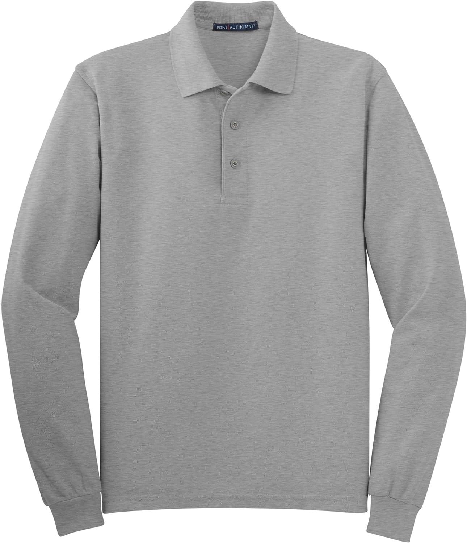 Port Authority Tall Silk Touch Long Sleeve Polo Shirt, LT, Cool Grey