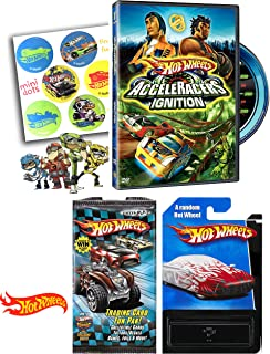 Team Hot Wheels Acceleracers - Ignition DVD Origin of Awesome Die Cast Car Sticker & Fun Card Pack Movie Set