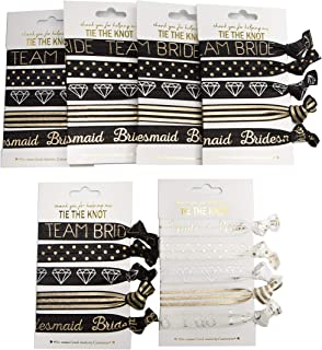 6 x 5-Pack Team Bride Bridesmaid Hair Ties Wristband Bachelorette Party and Bridal Wedding Shower Party Favor (6 Pack)
