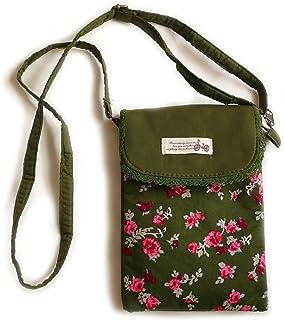 Umhängetasche aus Baumwolle, Motiv Blume, Farbe Khaki und Rosa.