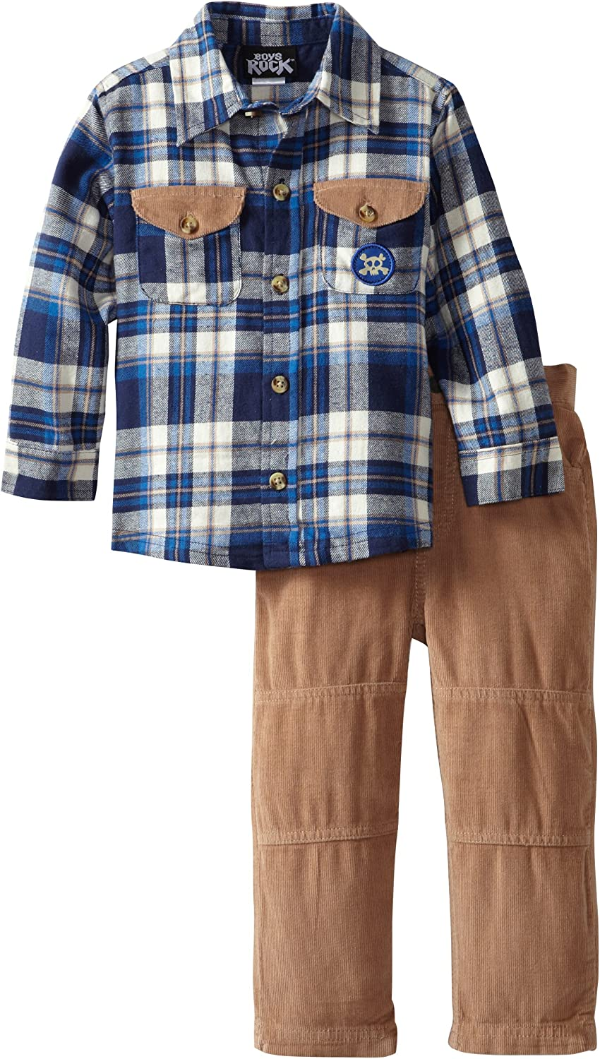 Boys Rock Little Boys Two-Piece Set with Woven Top and Corduroy Pant