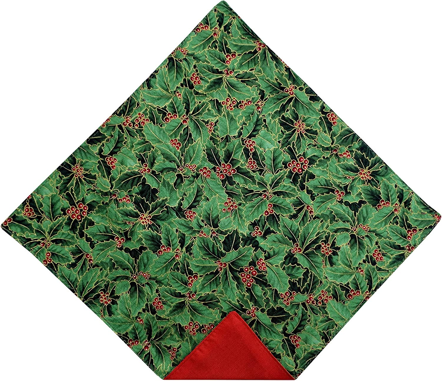 Holiday Bow Ties Mens Pocket Square Christmas Holly Berry Green Gold Metallic