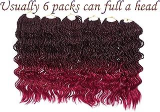 FIRSTCYH 6 Packs Wavy Senegalese Twist Crochet Hair Braids Wavy Ends Free Synthetic Hair Kanekalon Braiding Hair Havana Mombo Dreadlocks Extensions14 inch 35 Strands/Pack. (14, T1B/BUG)