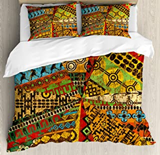 Ambesonne African Duvet Cover Set, Grunge Collage with Motifs Traditional Art Ornate Geometric, Decorative 3 Piece Bedding Set with 2 Pillow Shams, Queen Size, Yellow Orange