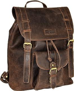 Menzo Leder-Rucksack aus echten Büffelleder, Ideal für die Arbeit, Schule, Urlaub und Handgepäck, Backpack Marrone