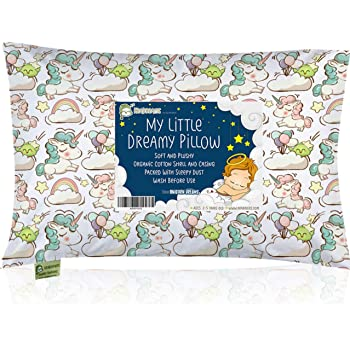 Toddler Pillow with Pillowcase - 13X18 Soft Organic Cotton Baby Pillows for Sleeping - Machine Washable - Toddlers, Kids, Infant - Perfect for Travel, Toddler Cot, Bed Set (Unicorn Dreams)