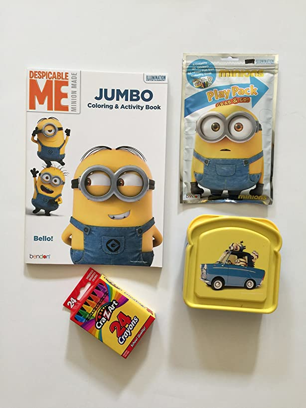 Despicable Me Minion Jumbo Coloring and Activity Book, Grab and Go Play Pack (24 Page Fun Size Coloring Book, 3 Colors W/25 Stickers), Box of 25 Crayons W/bonus Reusable Sandwich Container