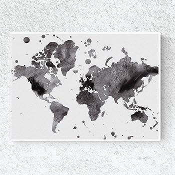 Nacnic Lámina para enmarcar MAPAMUNDI en Blanco y Negro. Tamaño A3: Amazon.es: Hogar